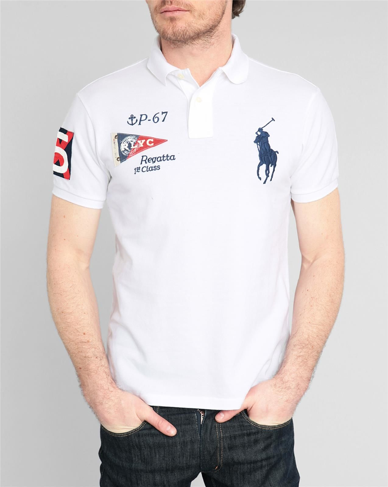 Ralph Lauren White Big Pony Polo Long Sleevd Shirts