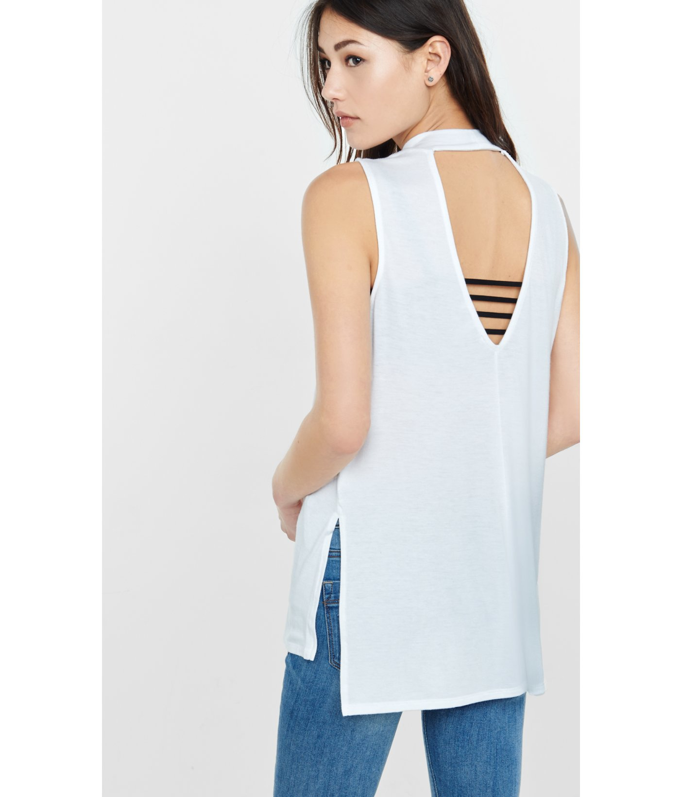 9bd31d18b5 Express One Eleven Mock Neck Tunic Tank in White - Lyst