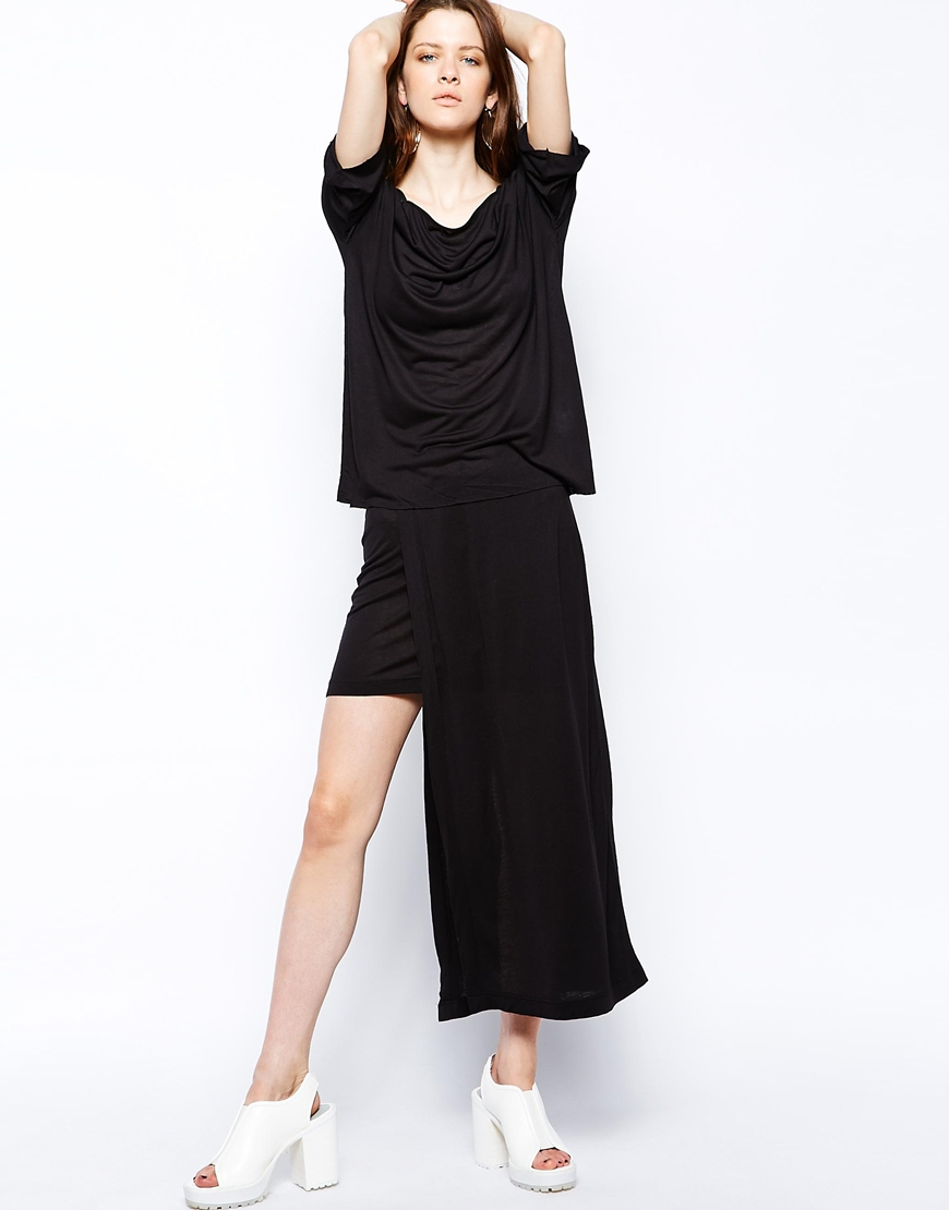 cheap monday maxi mini skirt in black lyst