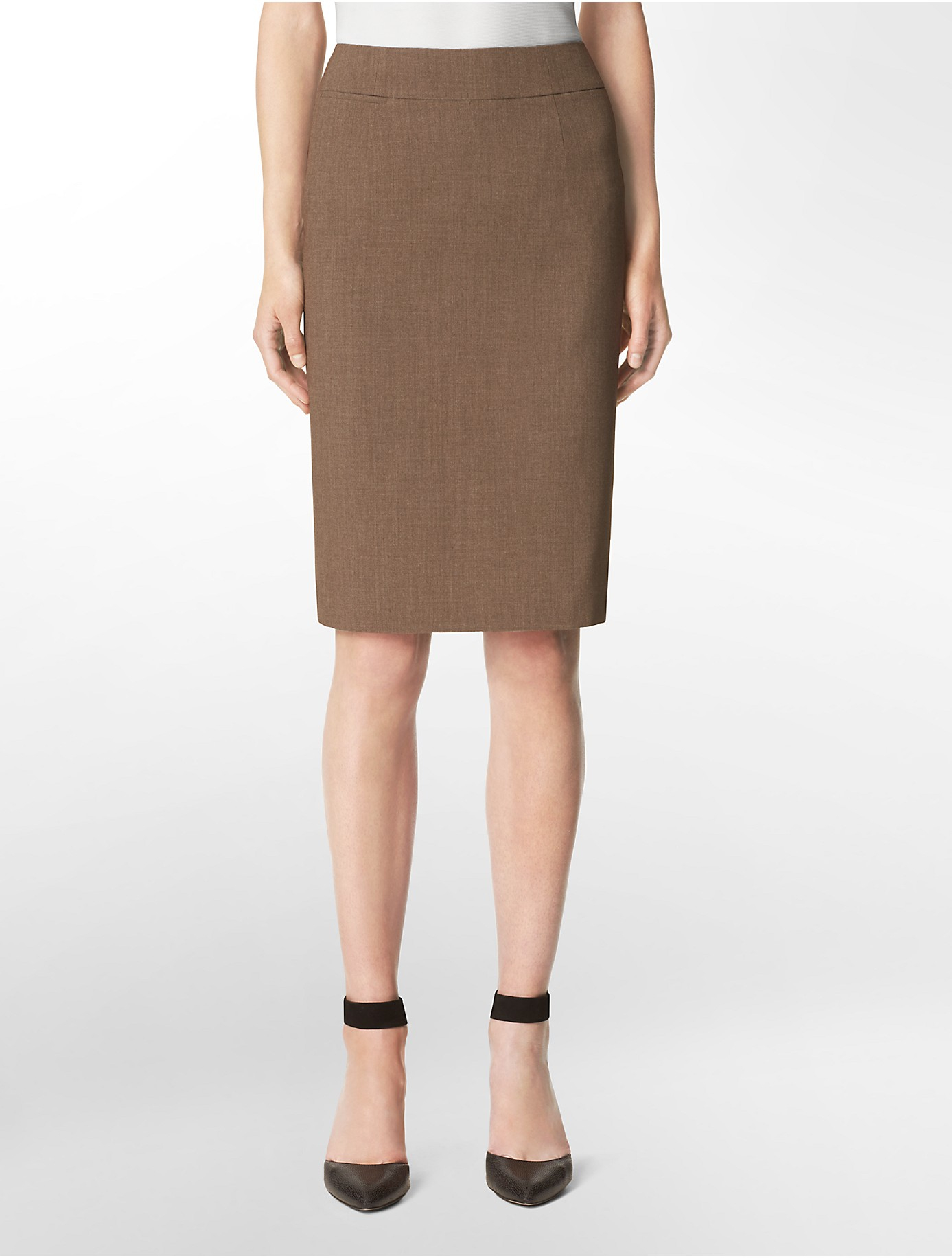 Calvin klein Heather Taupe Pencil Suit Skirt in Brown | Lyst