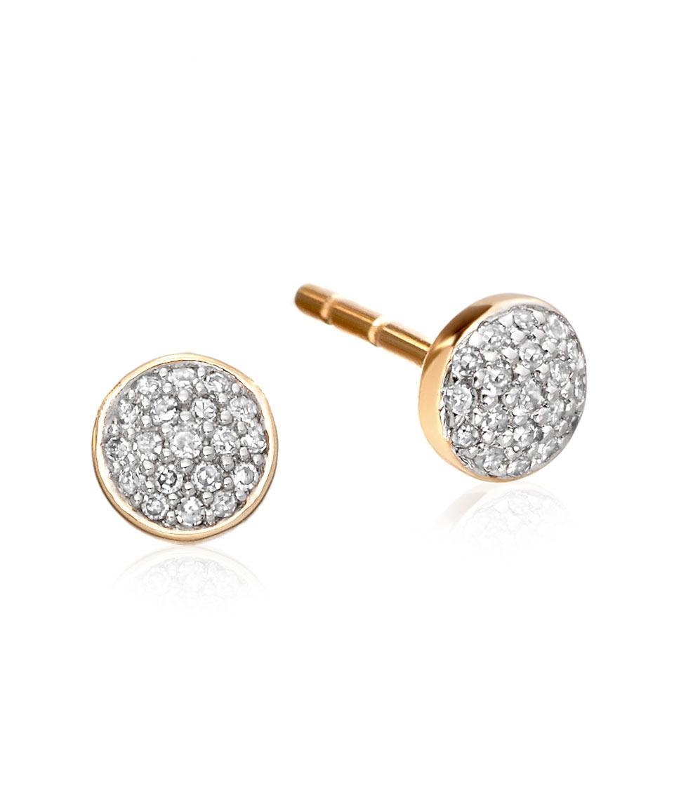 Lyst Astley Clarke Gold Pave Diamond Mini Icon Stud Earrings In