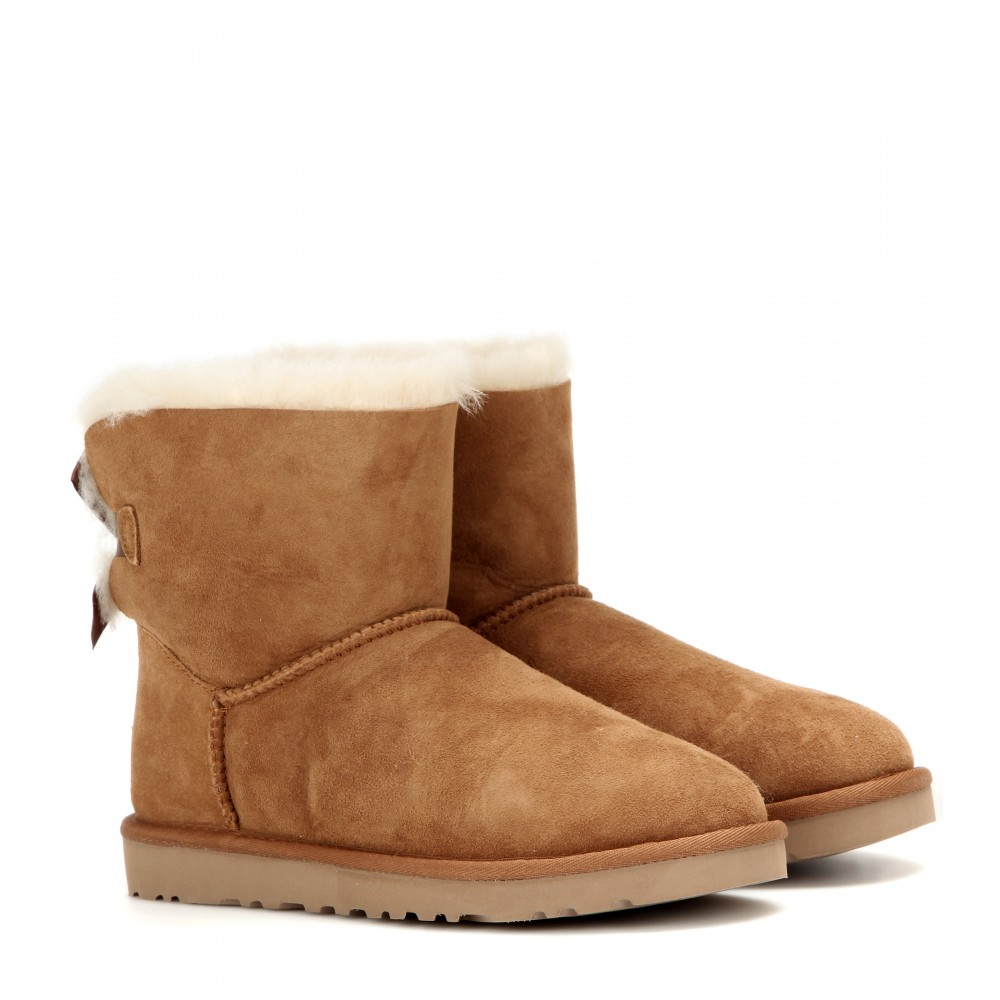 lyst ugg mini bailey bow suede boots in brown. Black Bedroom Furniture Sets. Home Design Ideas
