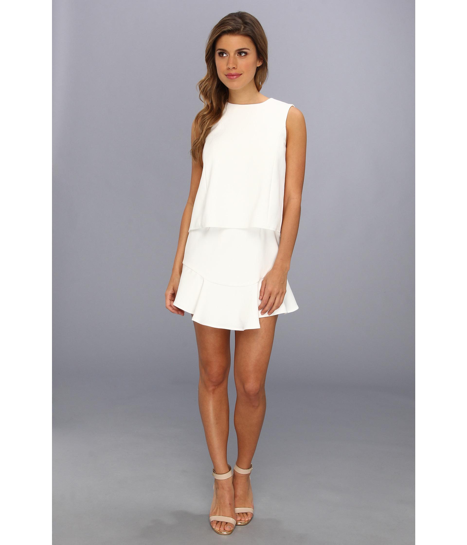 bcbgmaxazria vivian sleeveless ruffle hem dress in white. Black Bedroom Furniture Sets. Home Design Ideas