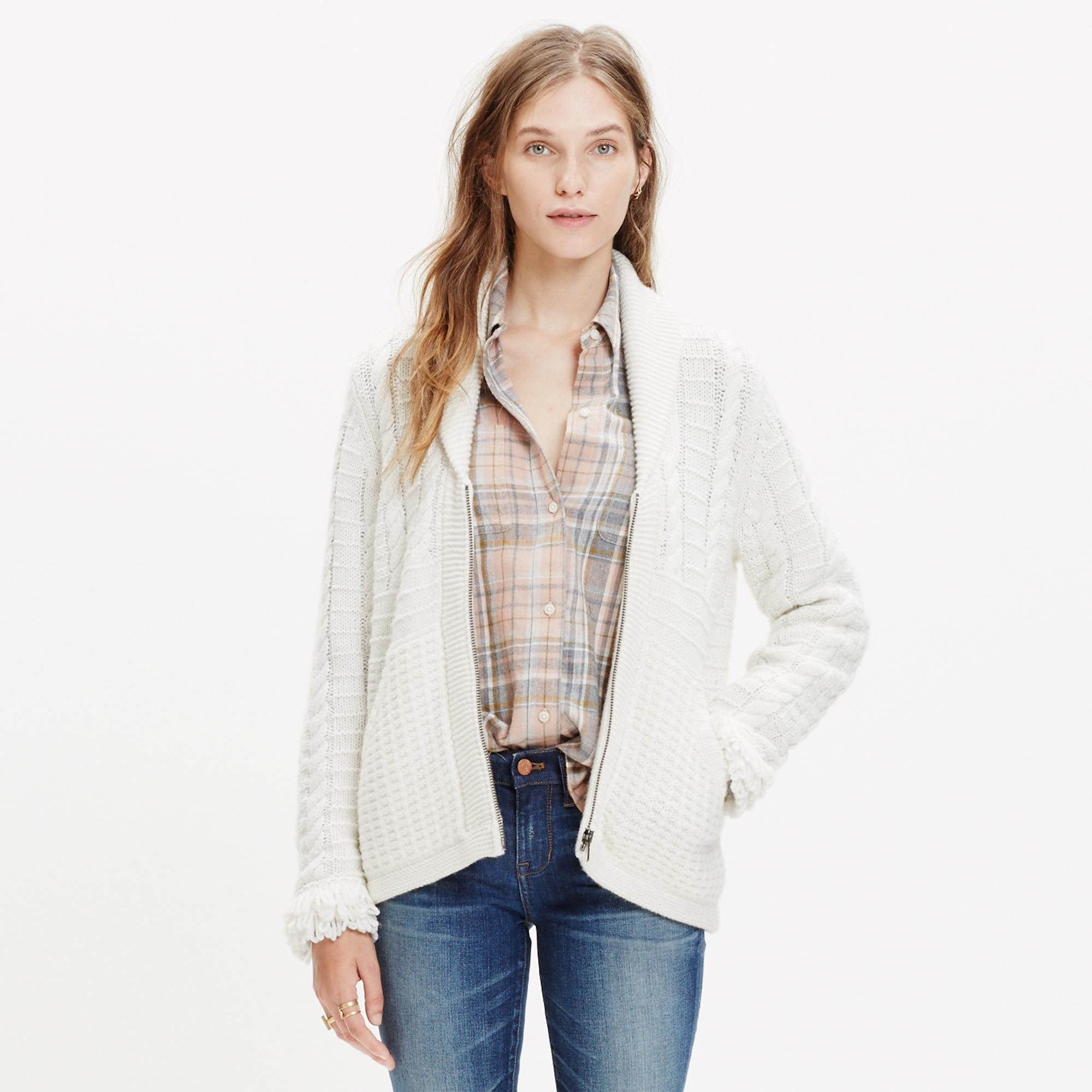 Madewell Fringe-sleeve Zip Cardigan Sweater in Natural | Lyst