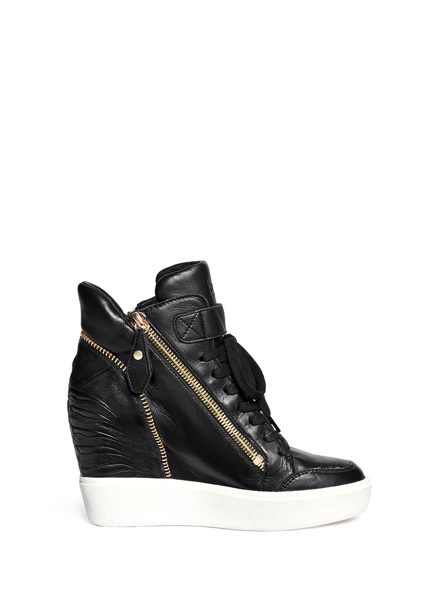 Lyst - Ash 'alfa' Embossed Ribcage Leather Wedge Sneakers ...