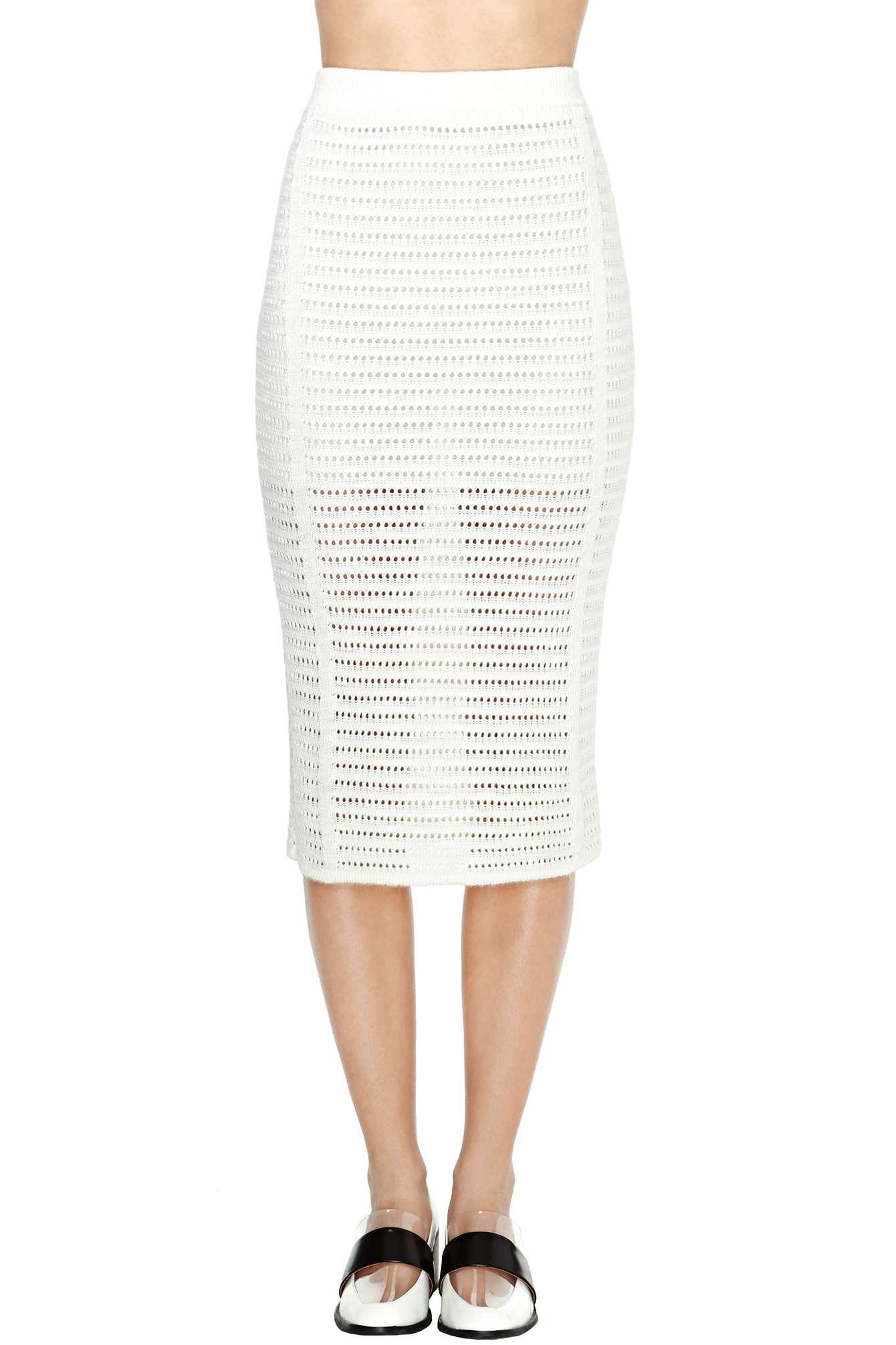 gal marcelle knit midi skirt in white ivory lyst