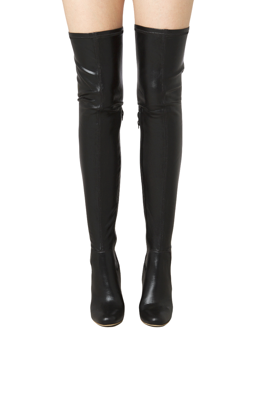 Jeffrey campbell Perouze Thigh High Leather Boots - Black in Black ...