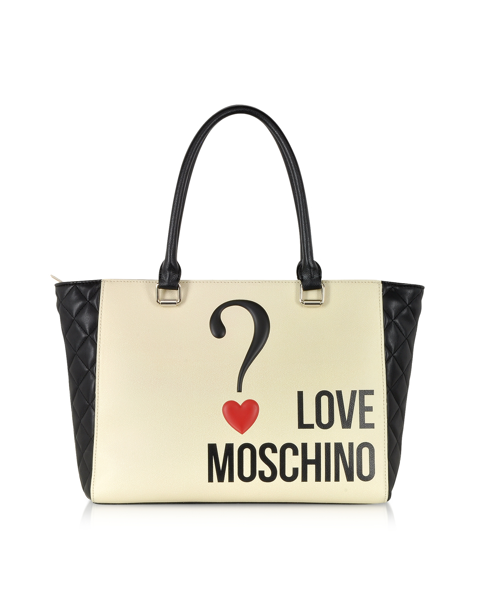 moschino love color block eco leather shopper tote in natural lyst. Black Bedroom Furniture Sets. Home Design Ideas
