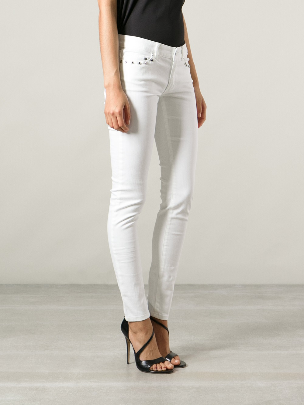 michael kors studded skinny jeans in white lyst. Black Bedroom Furniture Sets. Home Design Ideas