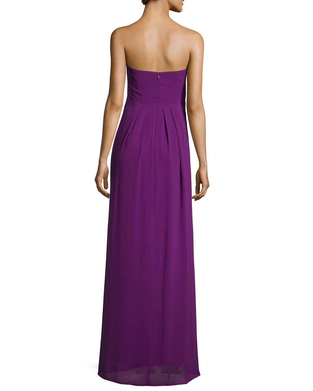 Lyst nicole miller womens strapless georgette gown in purple for Nicole miller strapless wedding dress