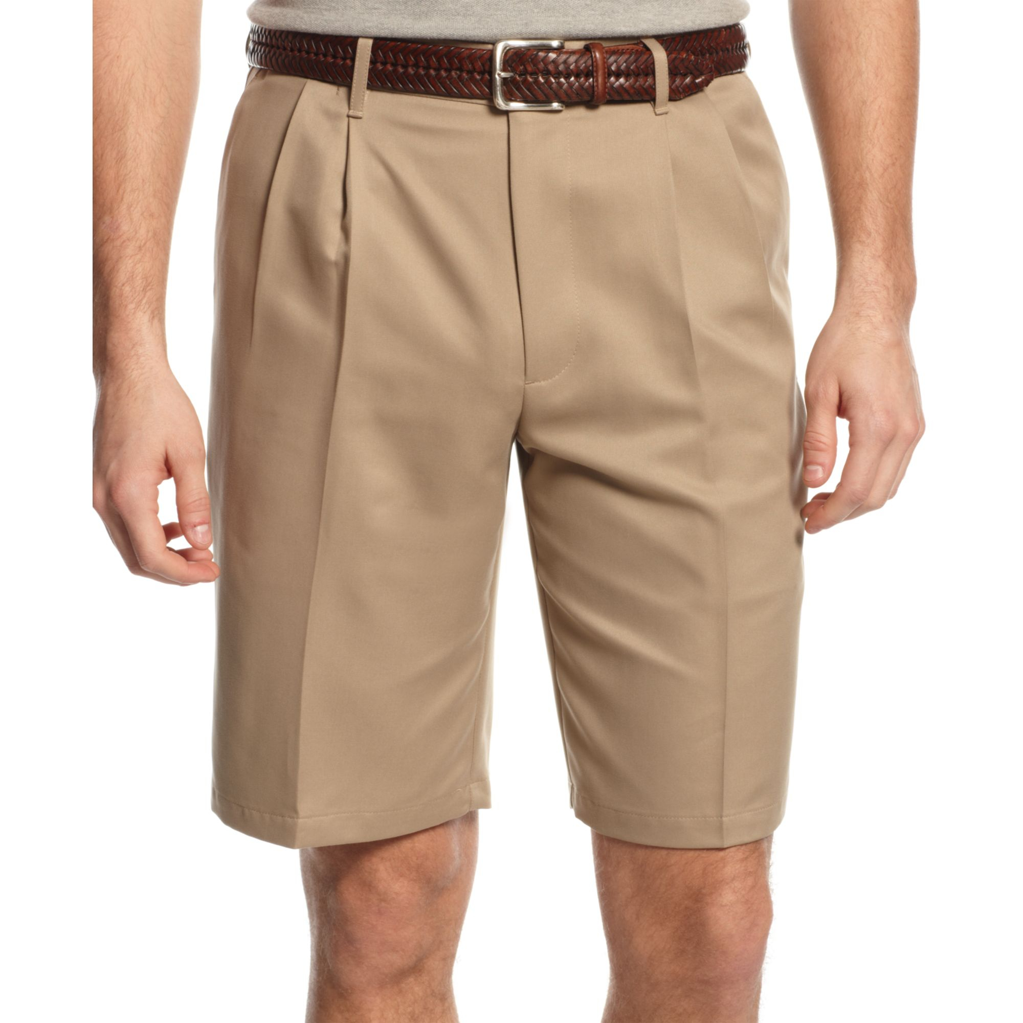 Dockers Double Pleat Microfiber Shorts in Natural for Men | Lyst