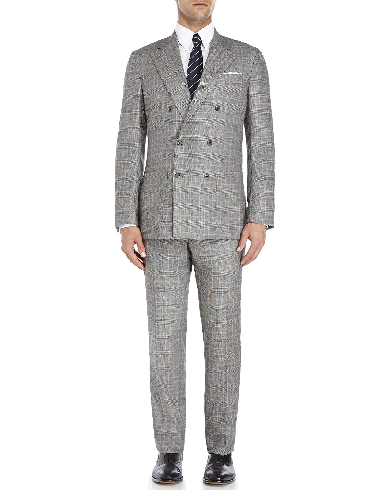 Kiton Double-Breasted Suit in Gray for Men | Lyst