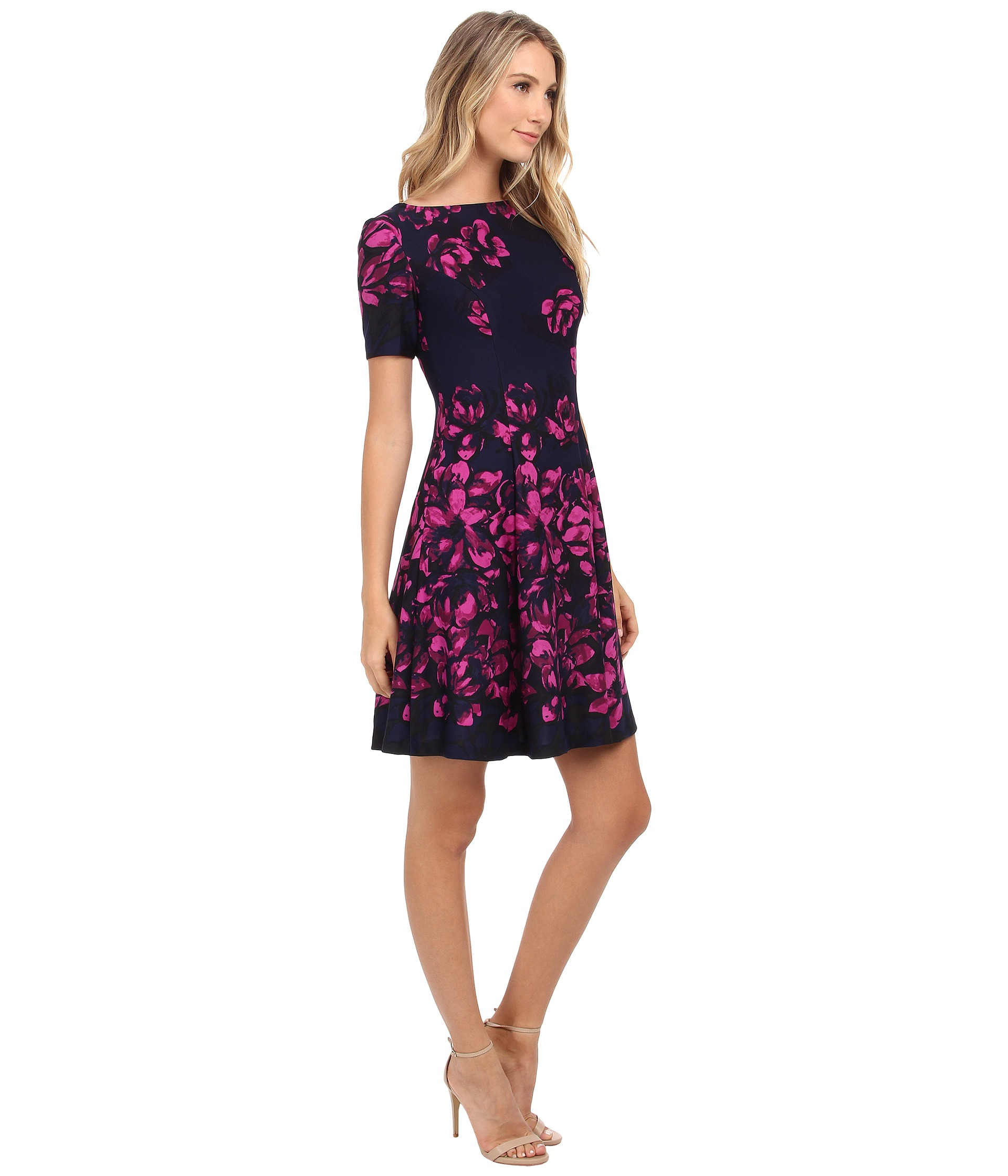 1945cc5a37 Lyst - Donna Morgan Short Sleeve Floral Printed Scuba Fit And Flare ...
