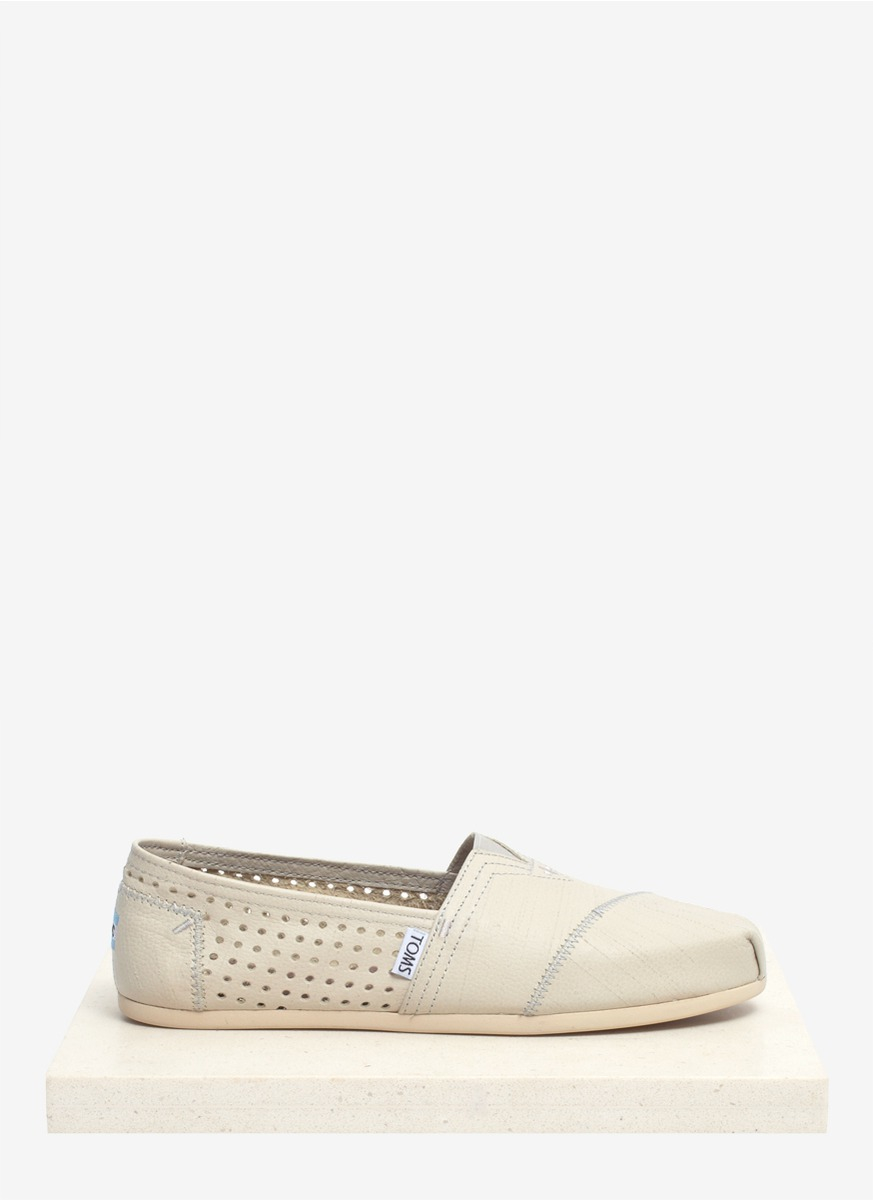 c0f29b29c18 Lyst - TOMS Perforated Leather Slip-ons in Natural