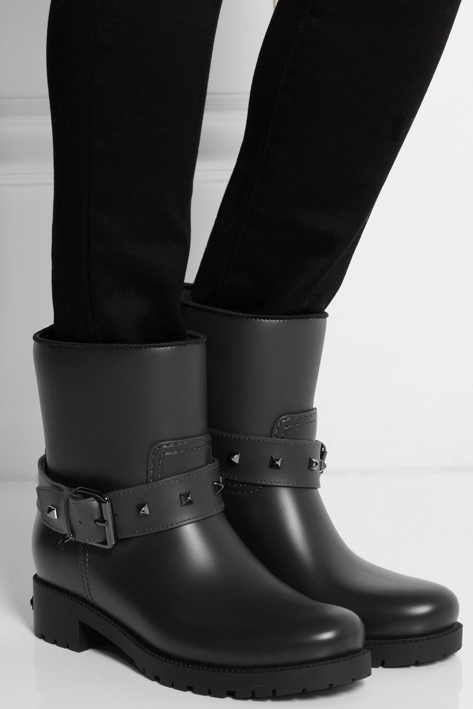 Karl Lagerfeld Rubber Biker Rain Boots In Gray Lyst