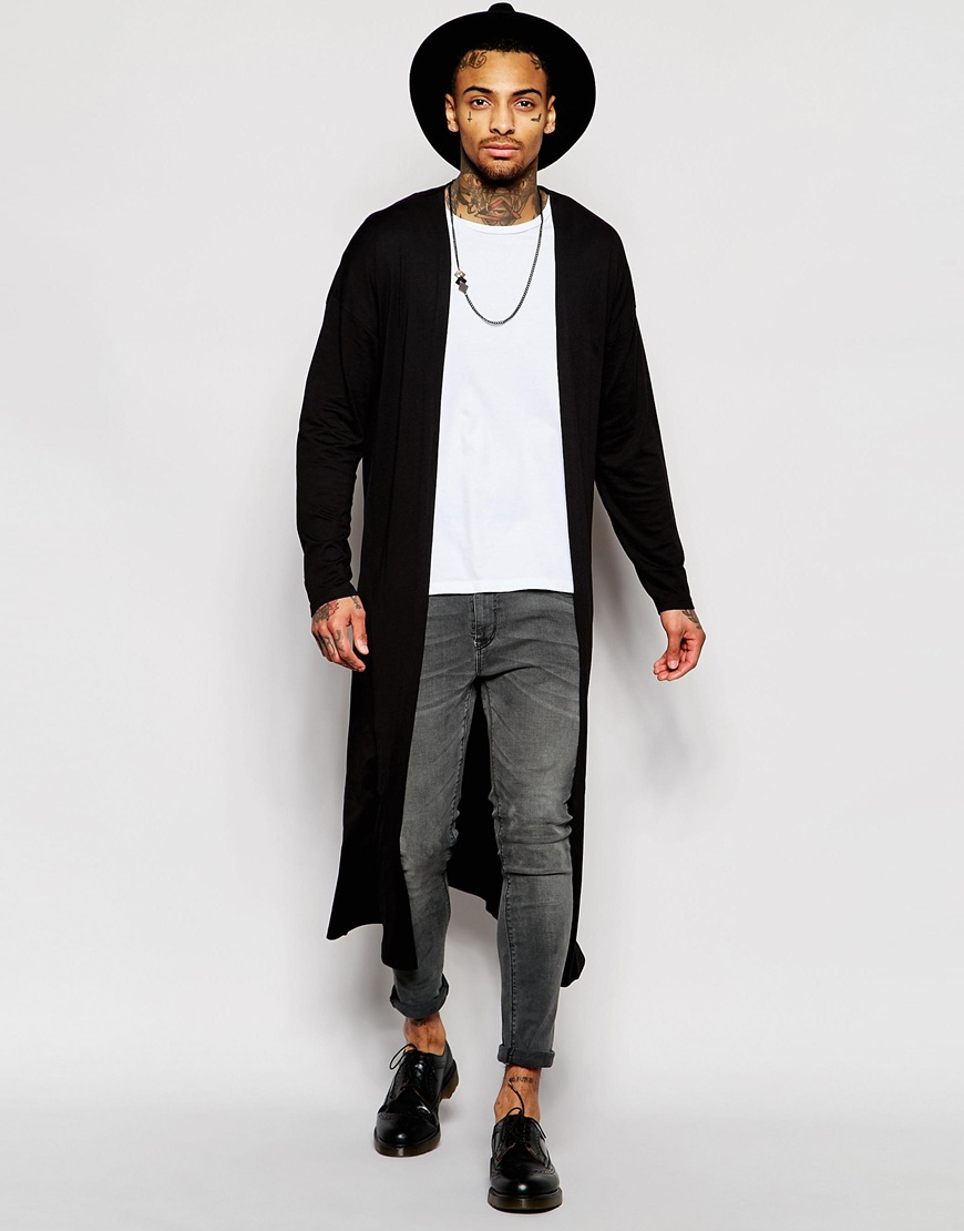 Asos Extreme Longline Lightweight Jersey Cardigan In Black in ...
