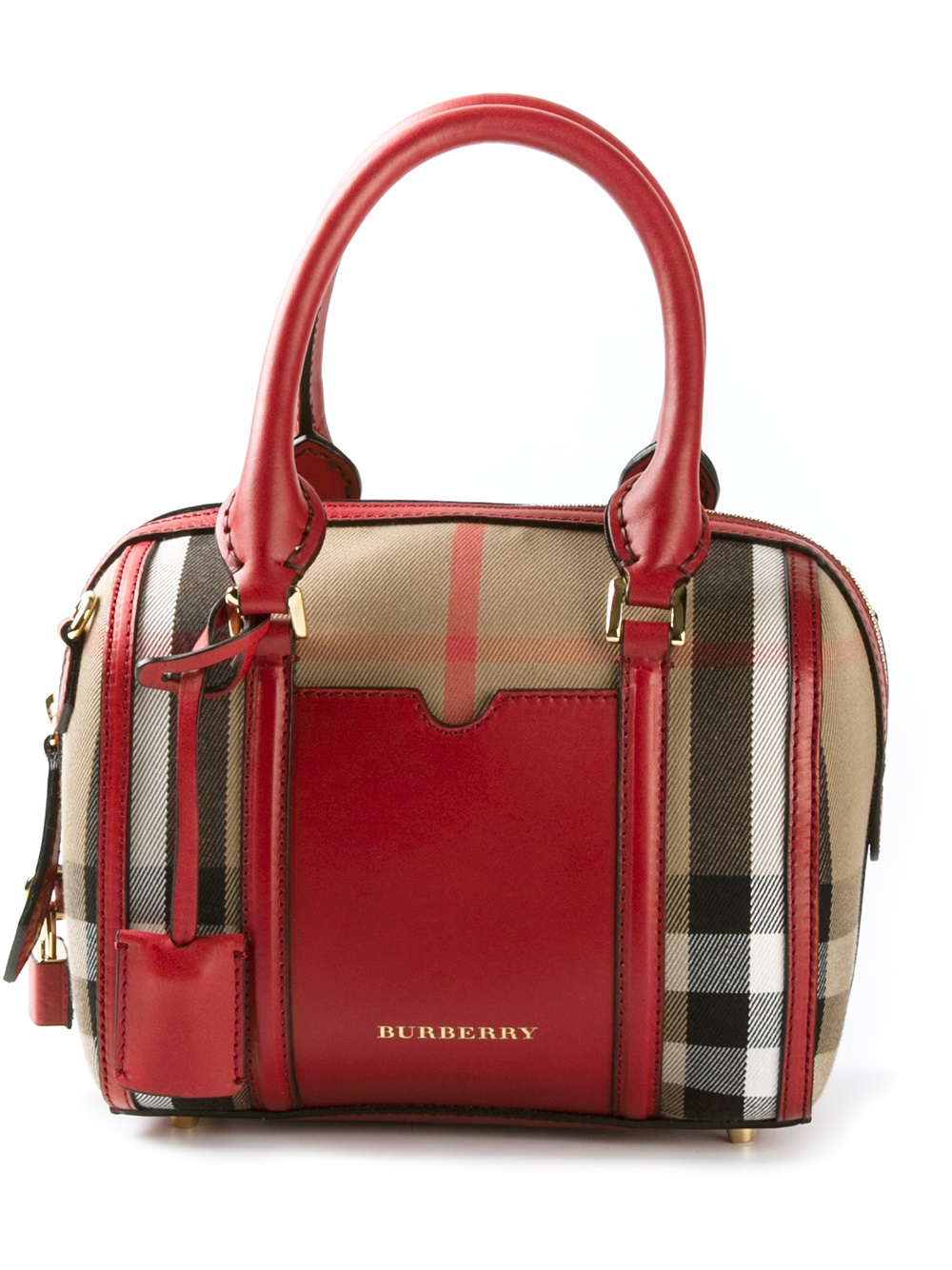 Burberry Sartorial House Check Mini Bowling Bag in Red - Lyst 54015d8b4c