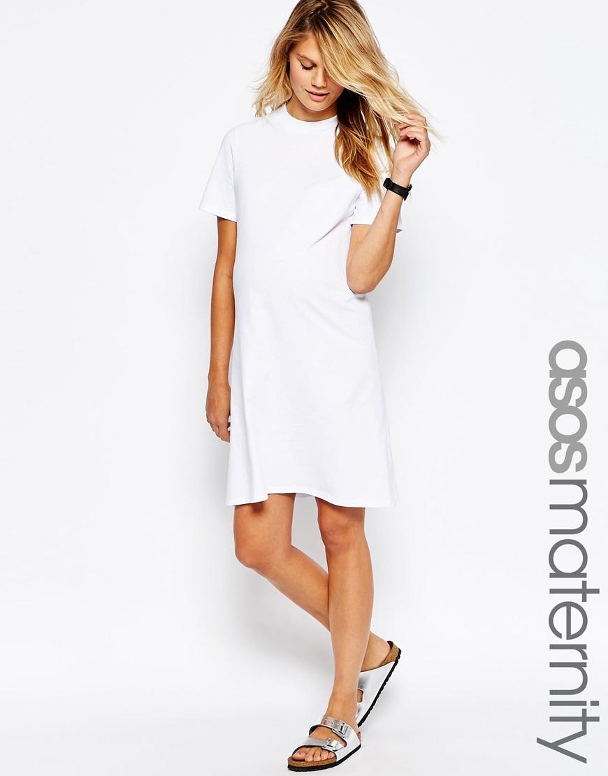 855fa95b5b6ad ASOS Maternity High Neck T Shirt Dress in White - Lyst