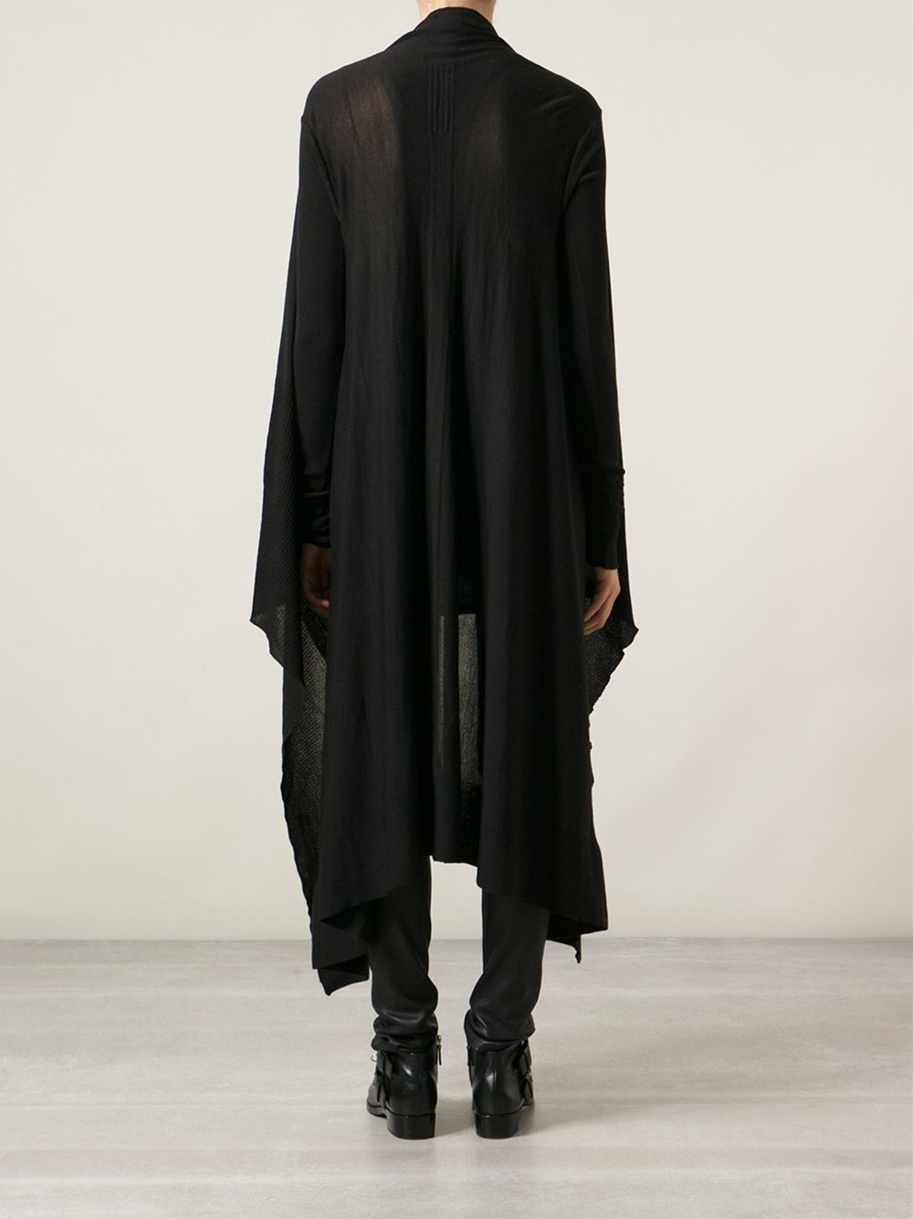 Rick owens Long Cardigan in Black | Lyst
