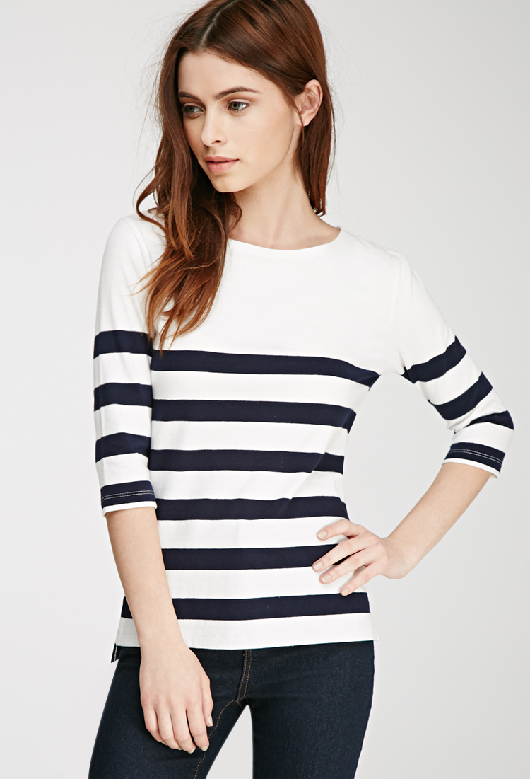 3abe327f82 Forever 21 Classic Striped Tee in Blue - Lyst