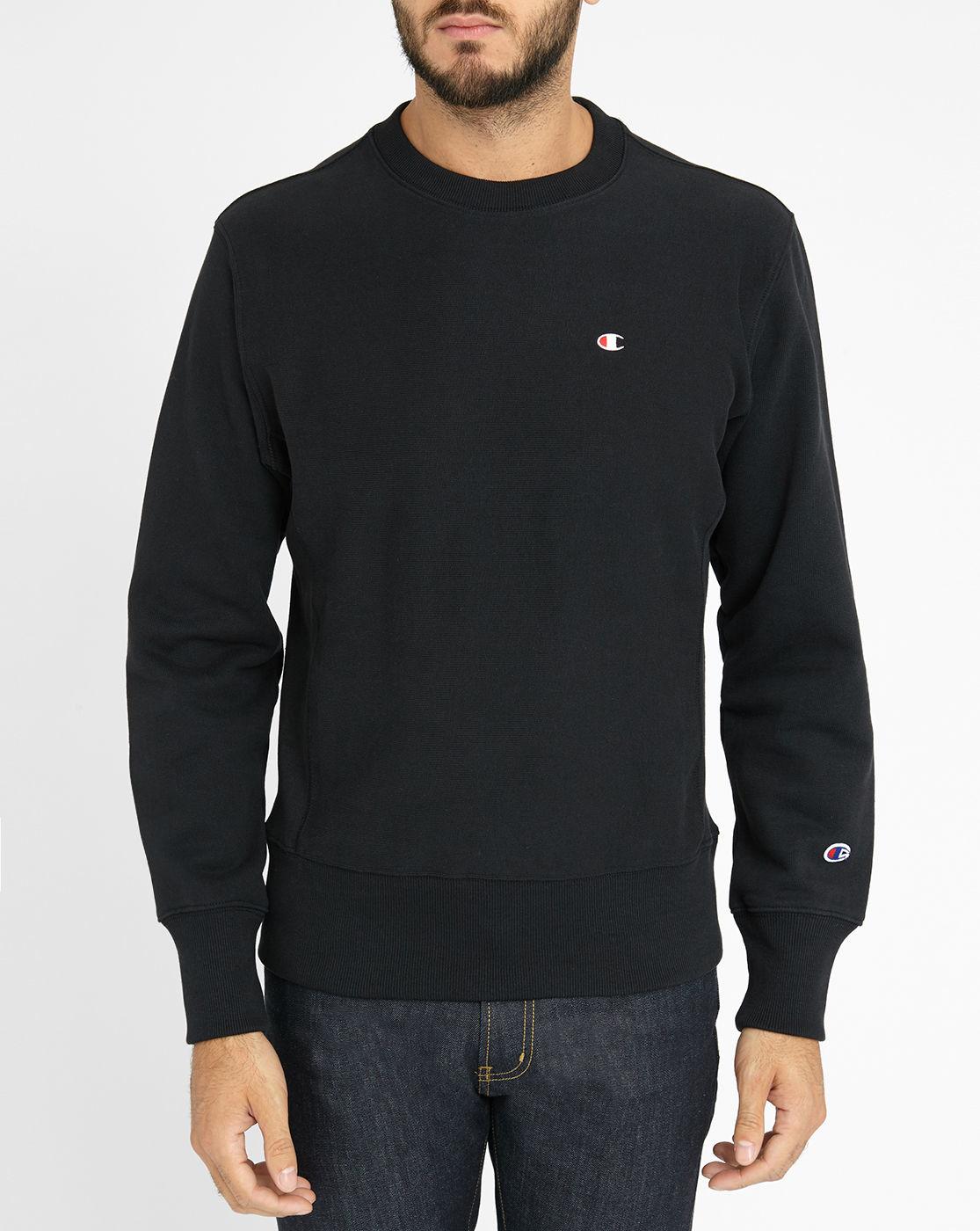 champion black original reverse weave sweatshirt in black for men lyst. Black Bedroom Furniture Sets. Home Design Ideas