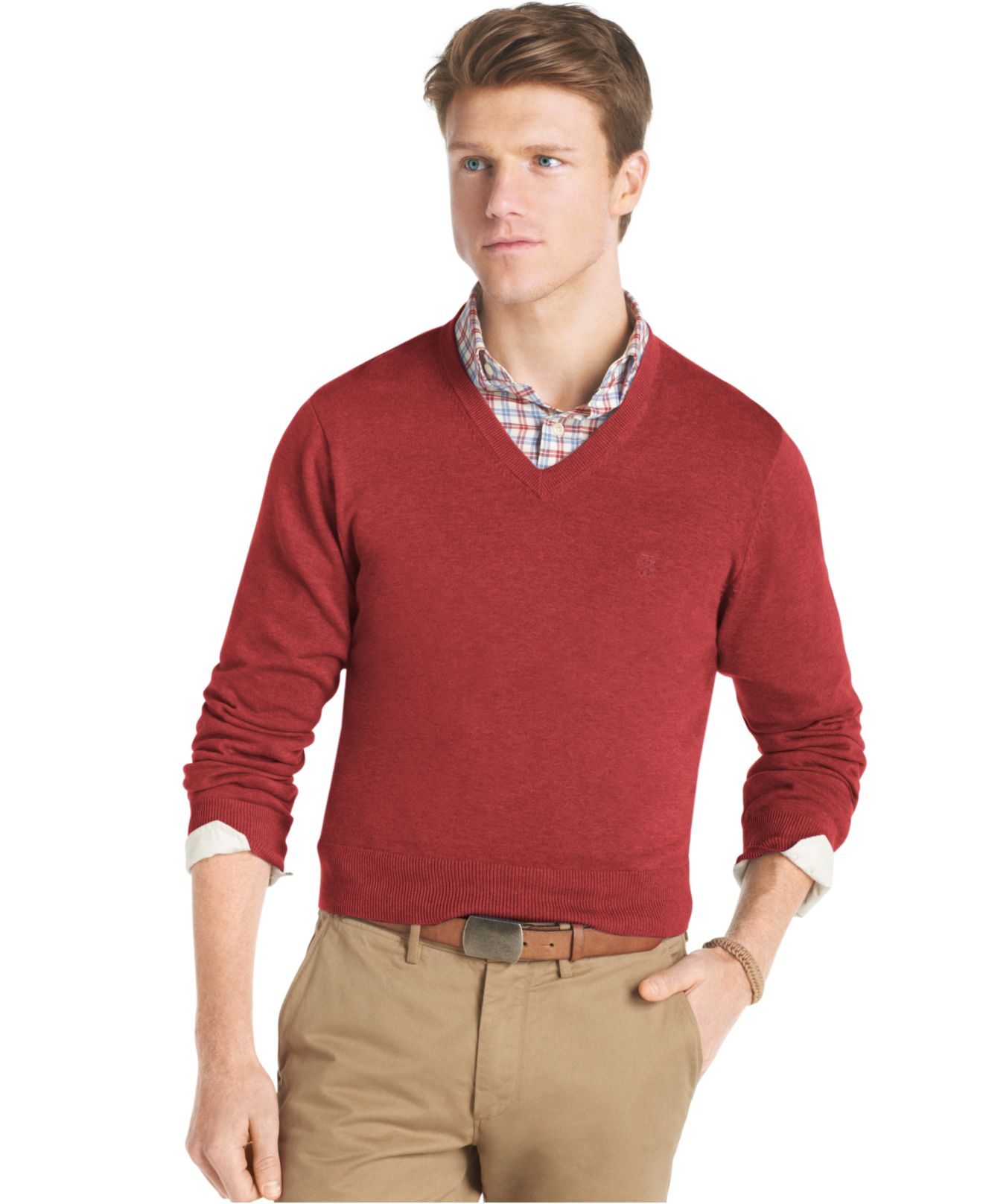 Izod Essential Lightweight V-Neck Fine Gauge Sweater in Red for ...