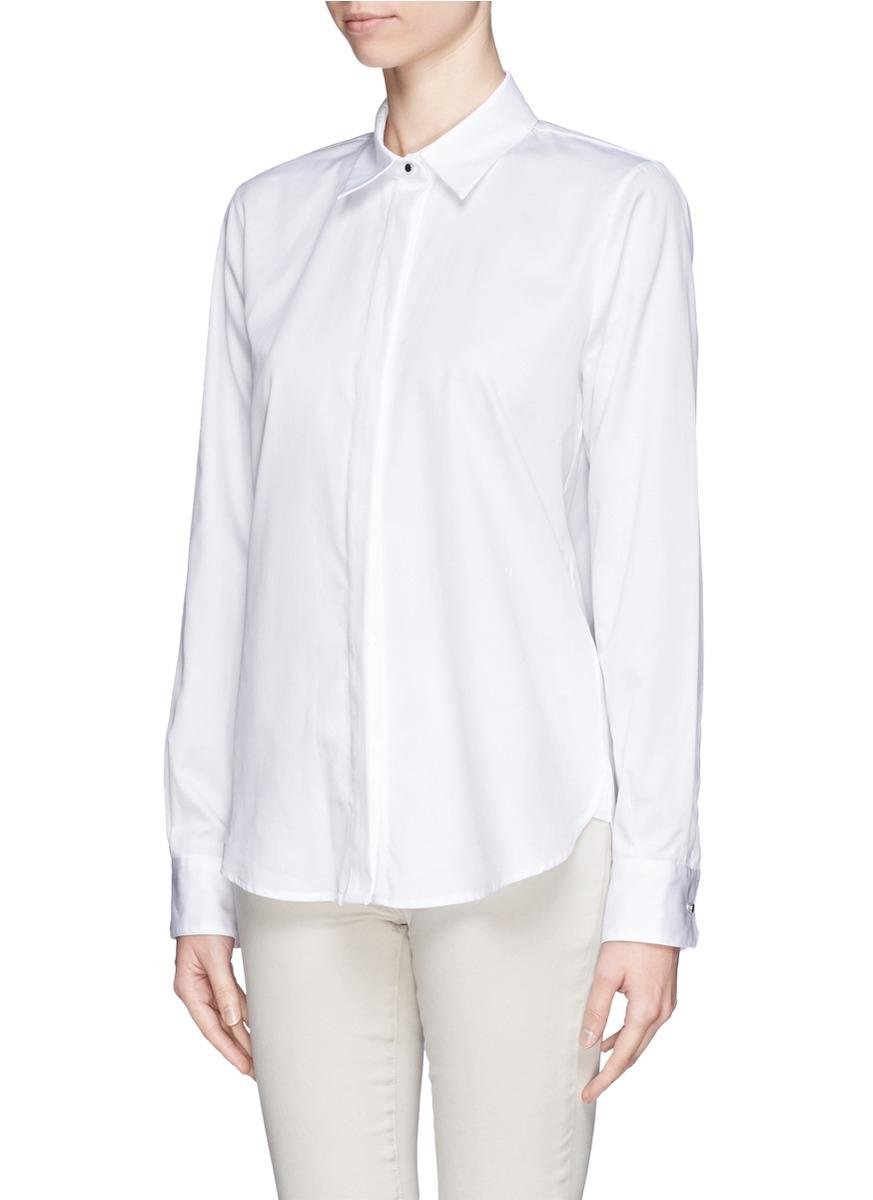 Lyst proenza schouler oxford button down shirt in white for White button down oxford shirt
