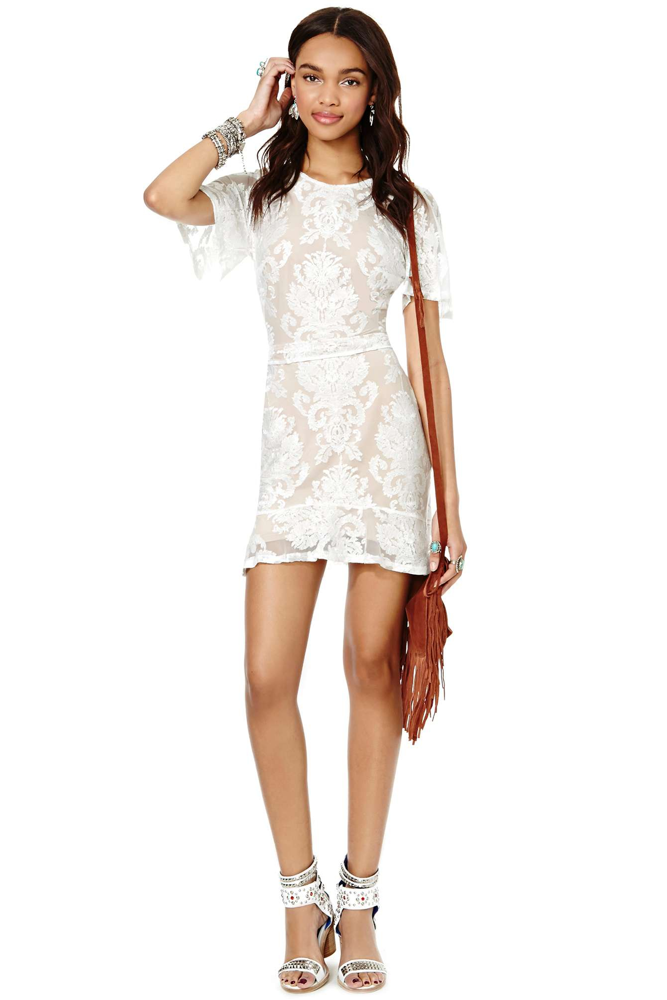 99cd1a73a6e Nasty Gal For Love and Lemons San Marcos Mini Dress in White - Lyst