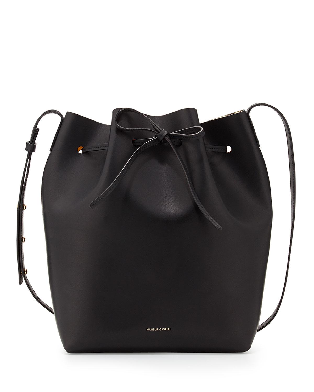 mansur gavriel black structured leather bucket bag lyst. Black Bedroom Furniture Sets. Home Design Ideas