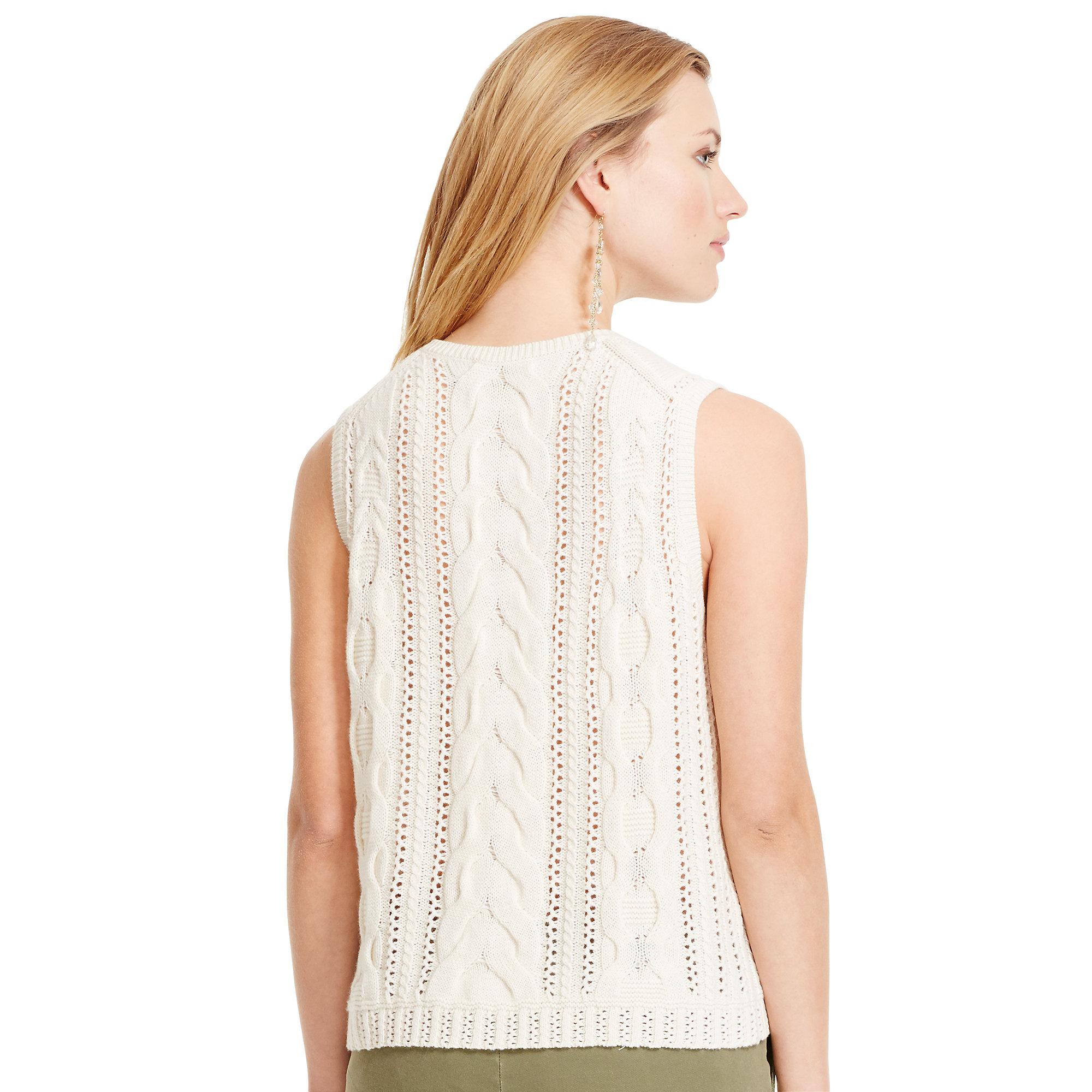 Lyst Ralph Lauren Cable Knit Sleeveless Sweater In Natural