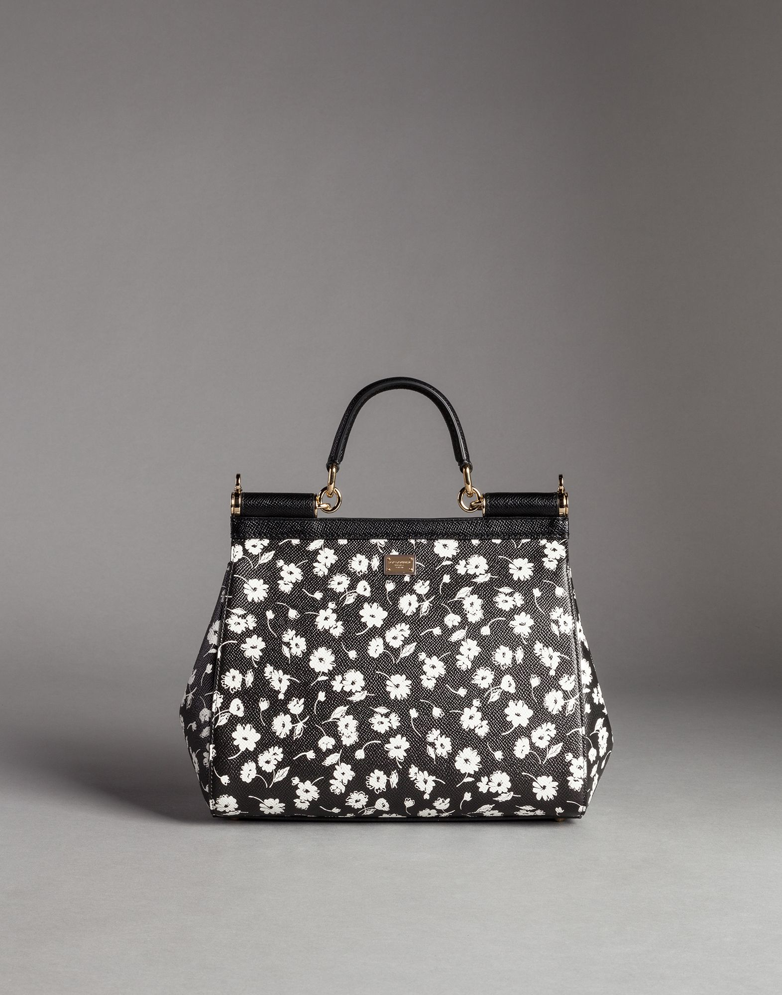5610ed22d990 Lyst - Dolce   Gabbana Sicily Medium Floral-Print Tote in Black
