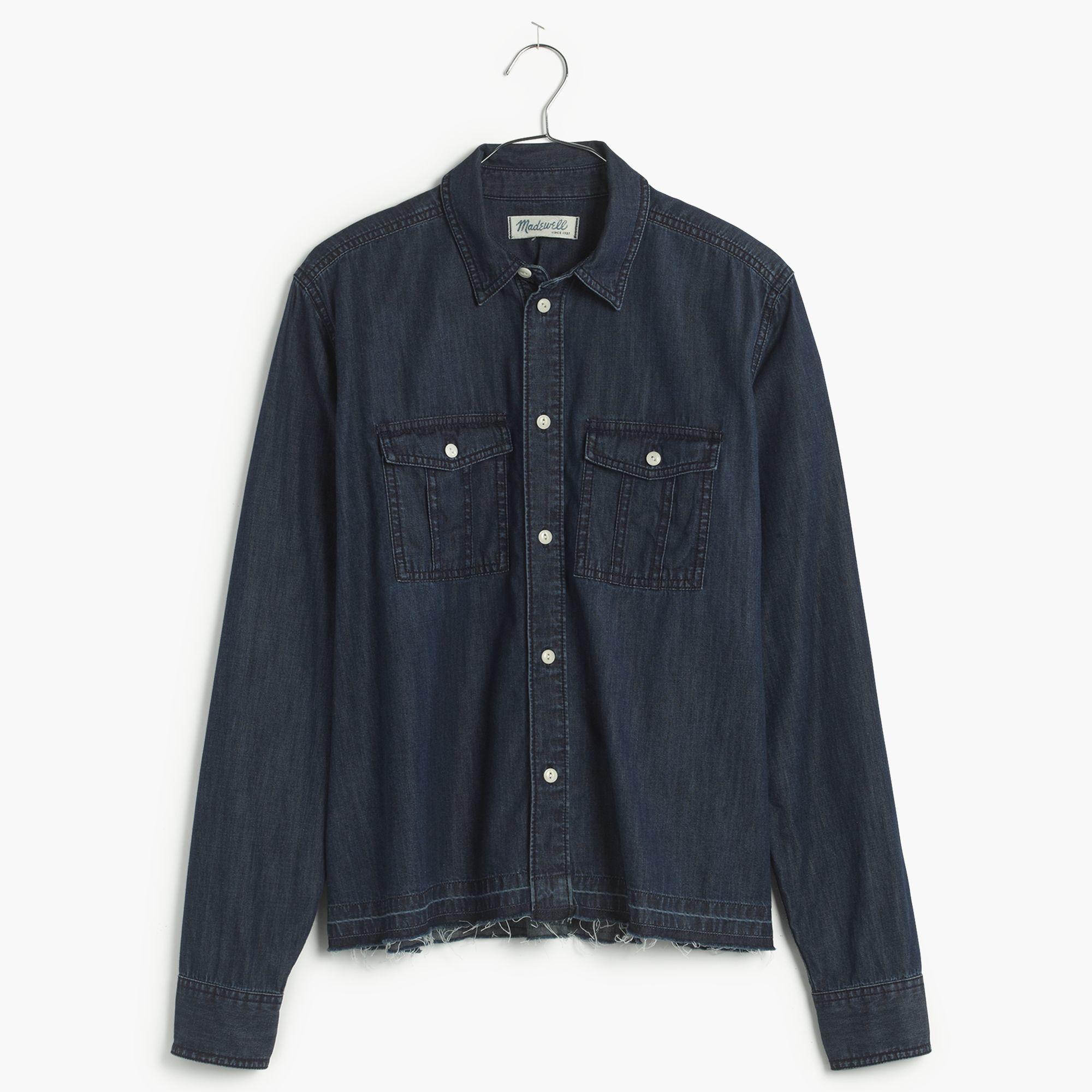 a914ea502c Lyst - Madewell Drop-hem Denim Shirt In Dark Indigo in Blue