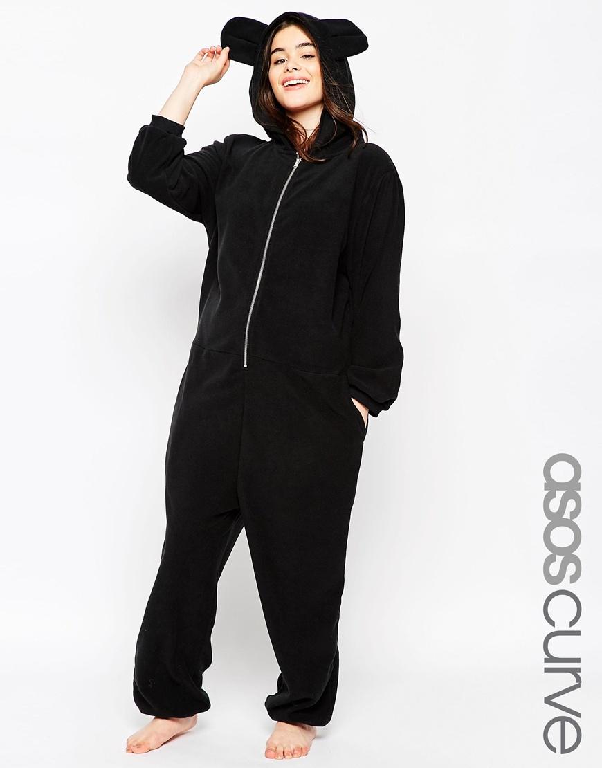 lyst asos fleece onesie with ears in black. Black Bedroom Furniture Sets. Home Design Ideas
