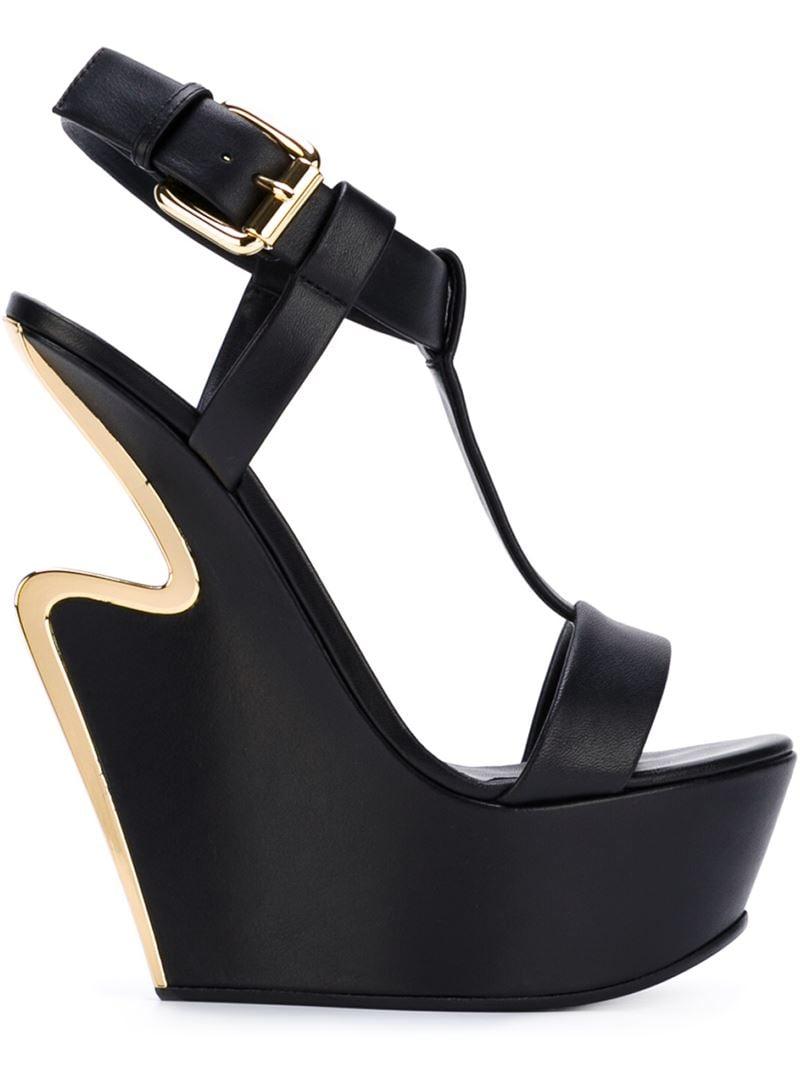 72c620d5a54e Lyst - Giuseppe Zanotti Sculpted Wedge Heel Sandals in Black