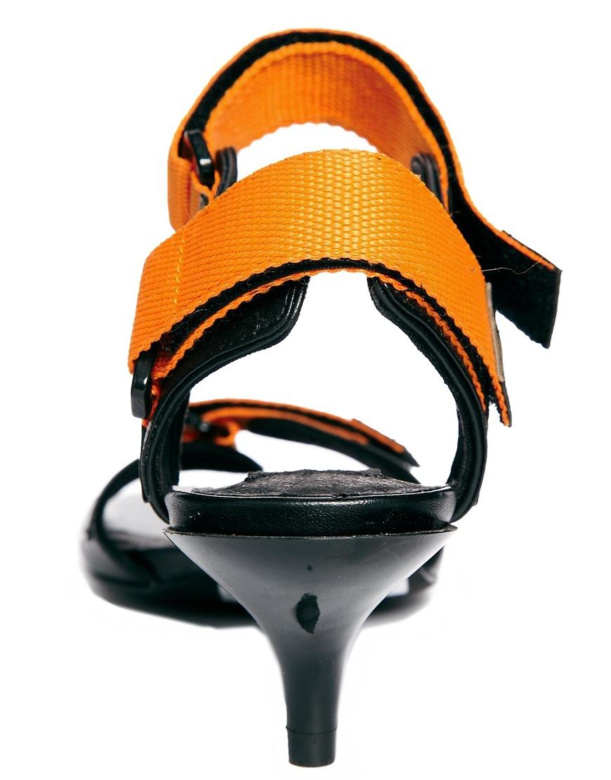 Orange Kitten Heel Sandals Ha Heel