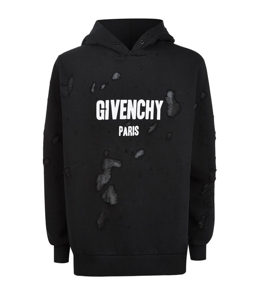 Givenchy Distressed Logo Hoodie in Black for Men - Lyst 0a2783b86888