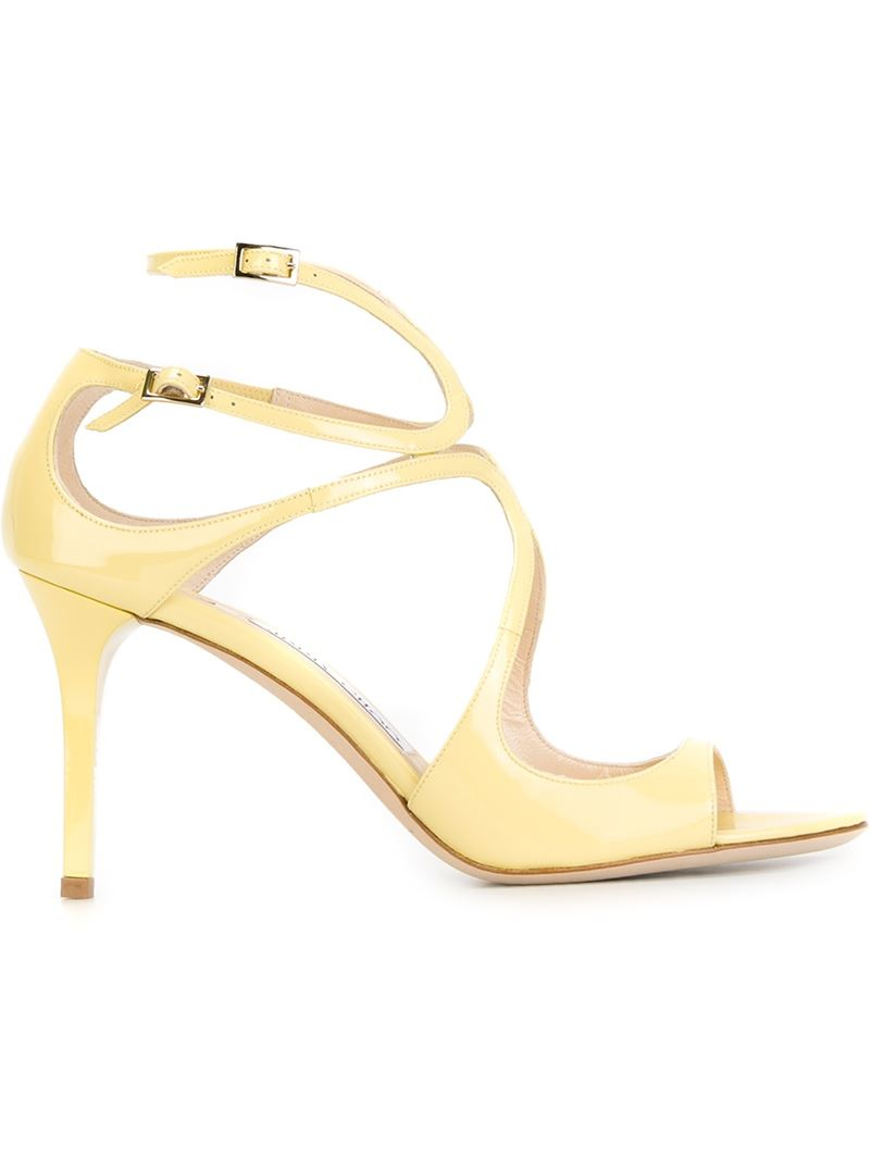 6bdde7e3046e Lyst - Jimmy Choo Ivette Patent-Leather Sandals in Yellow