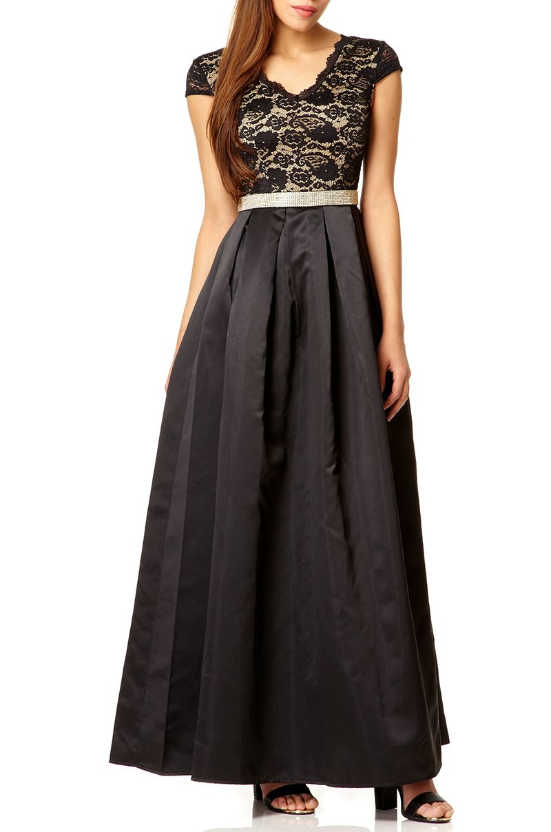 Black lace bodice dip hem maxi dress