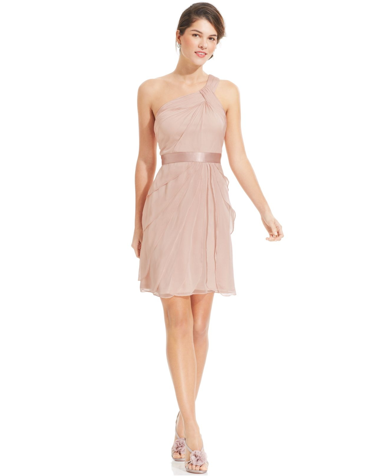 73d587bb3ea1 Lyst - Adrianna Papell One-shoulder Tiered Chiffon Dress in Pink