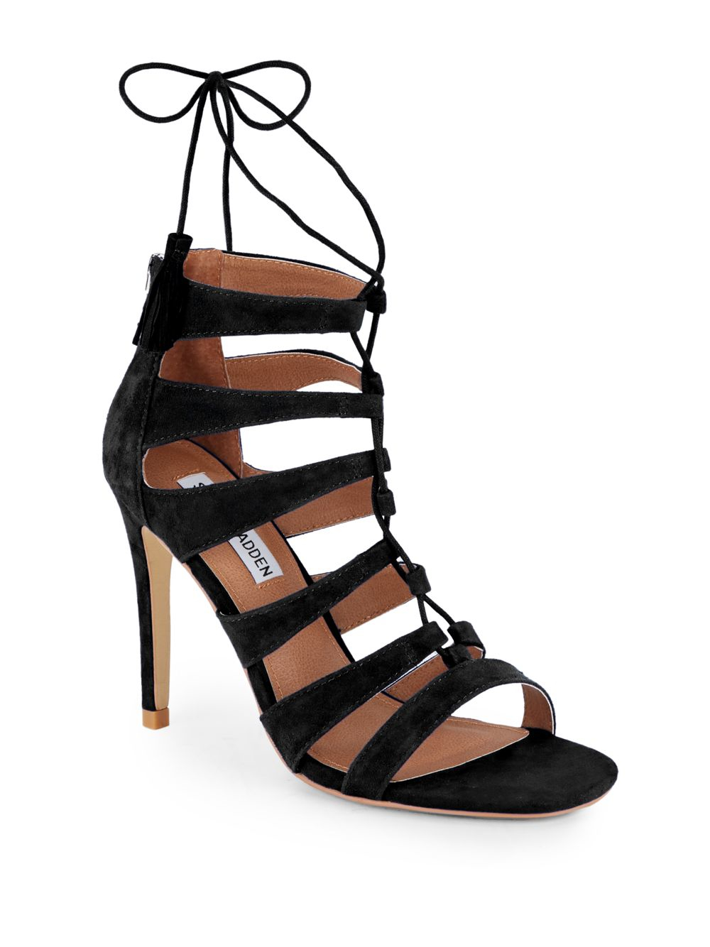 f83574ad23 Steve Madden Faraah Suede Strappy Open-toe Sandals in Black - Lyst