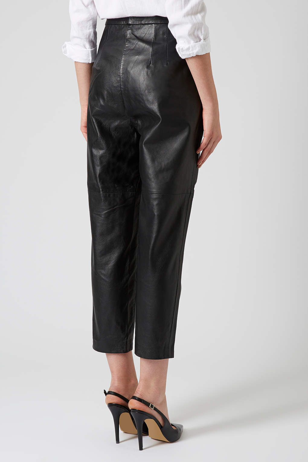 Lyst Topshop Leather Peg Trousers In Black
