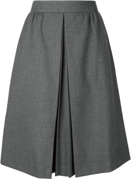 viktor rolf gray pleated front a line skirt lyst