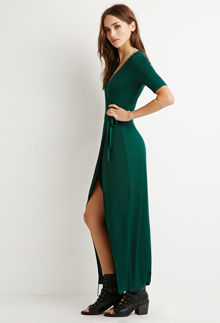 Green maxi wrap dress