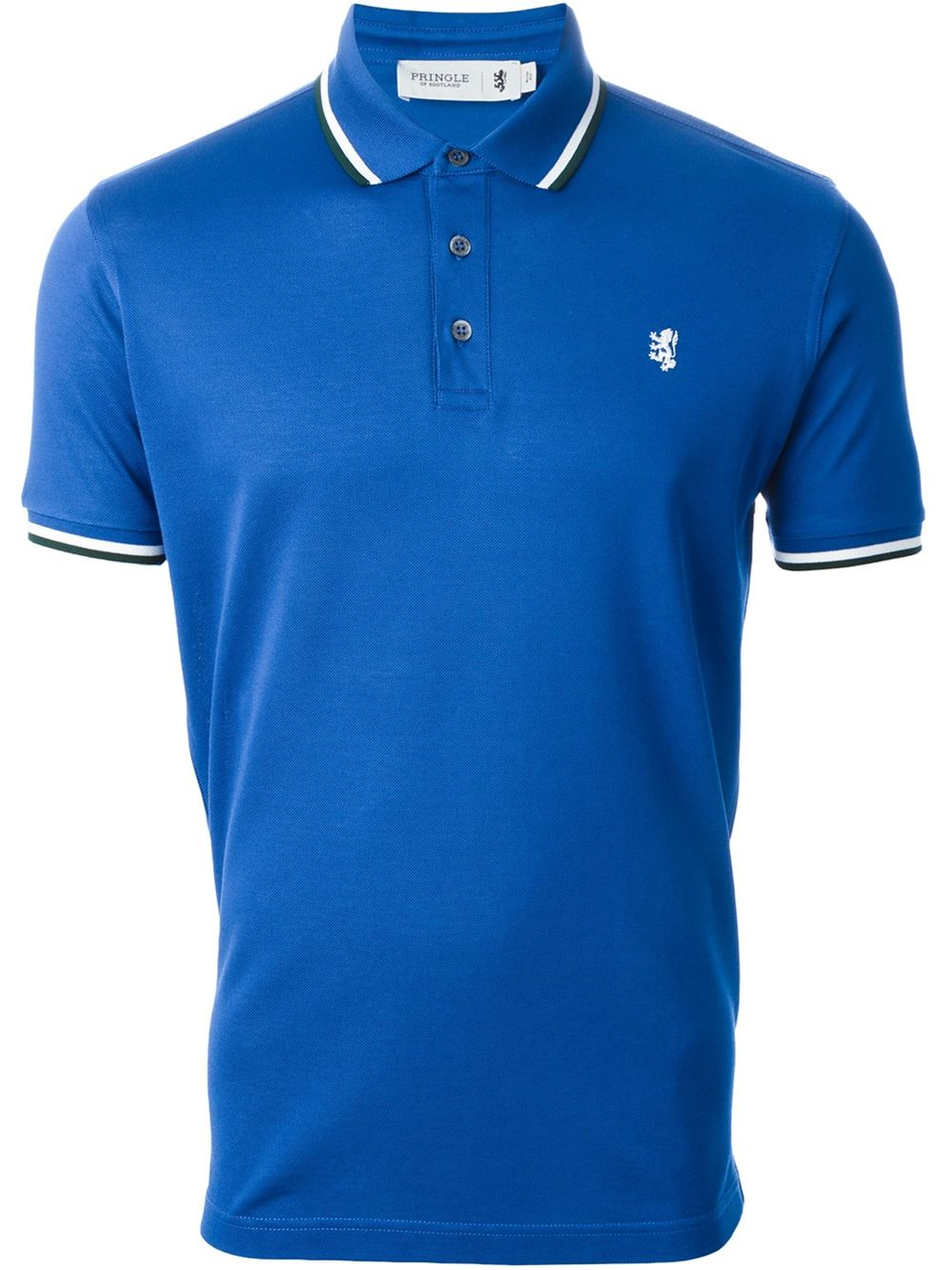 Pringle of scotland logo embroidered polo shirt in blue for Polo shirt with company logo