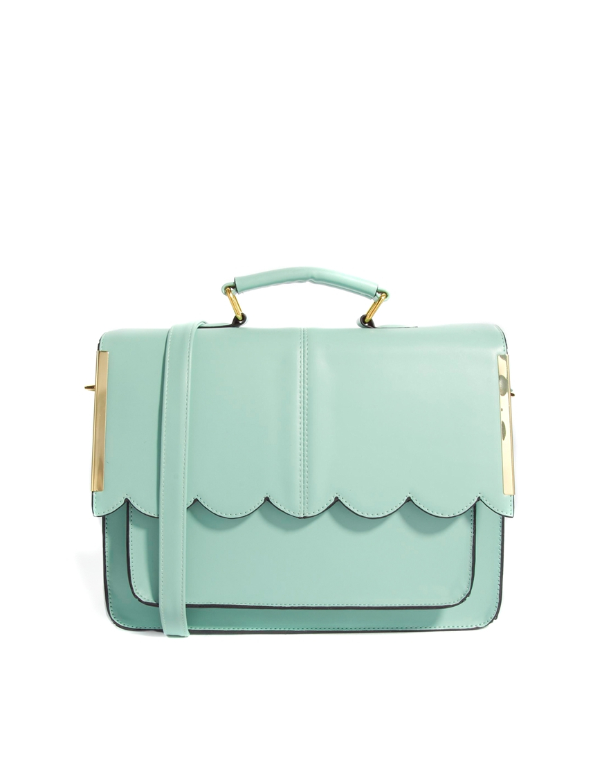 Asos Satchel Bag with Scallop Bar Detail in Green | Lyst