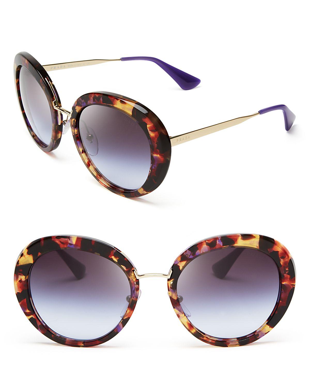 b8e601bacbf97 Prada Black Acrylic Oversized Round Sunglasses