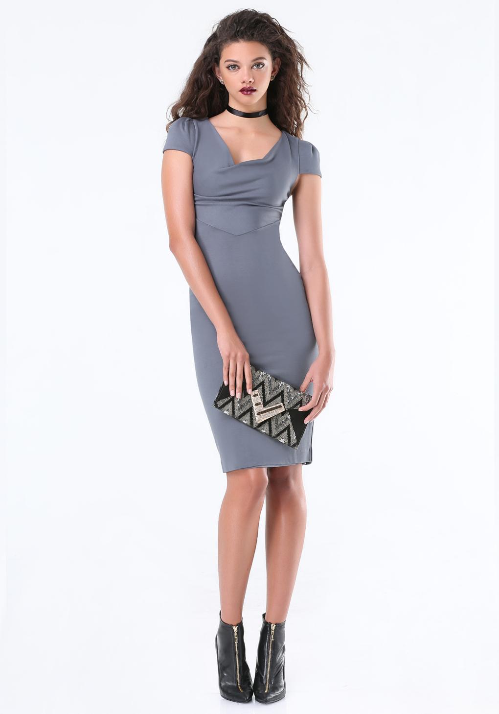 edf133f016df Lyst - Bebe Cowl Neck Dress in Gray