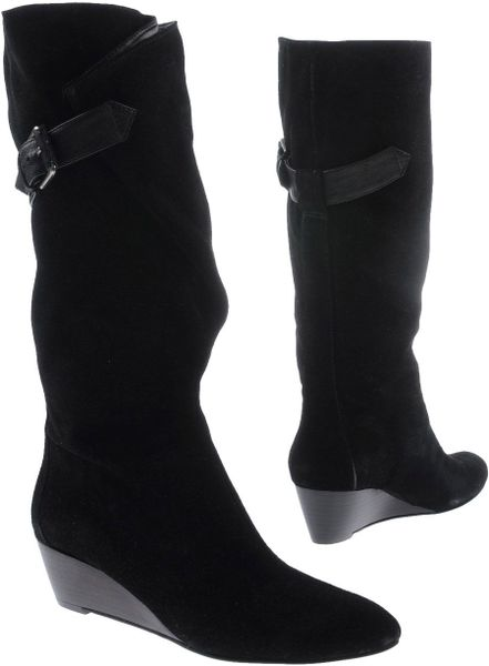 nine west wedge suede boots in black lyst