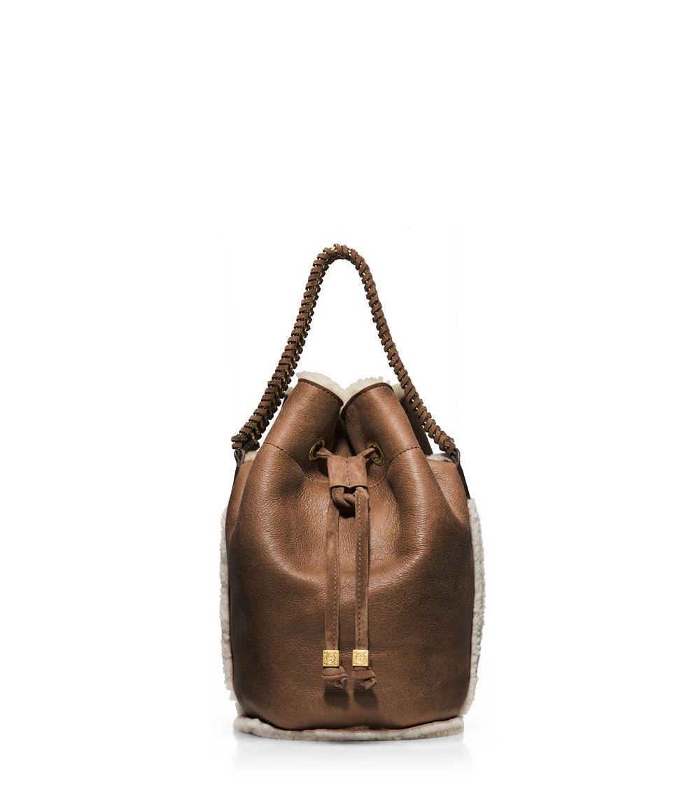 cd5537f5d34 Lyst - Tory Burch Shearling Small Drawstring Bag in Brown