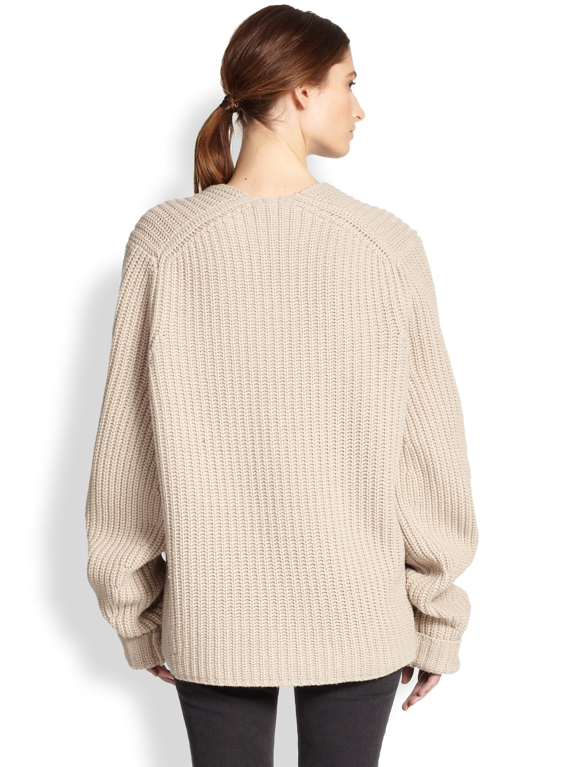 Acne studios Oversized Ribbed Wool Sweater in Natural | Lyst